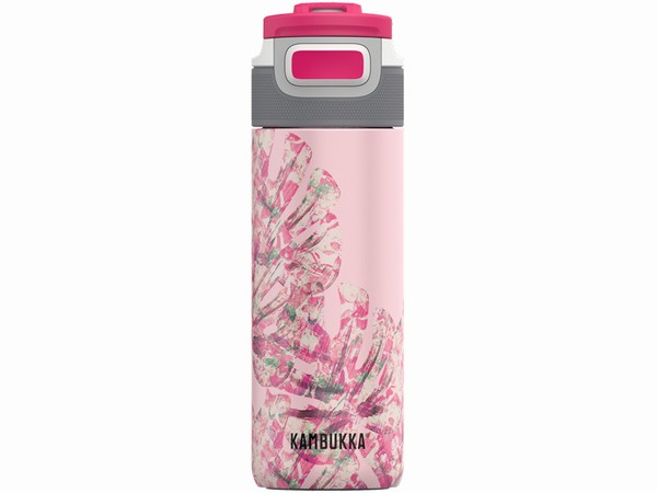 růžová láhev na vodu Kambukka ELTON Insulated 500ml - Monstera Leaves
