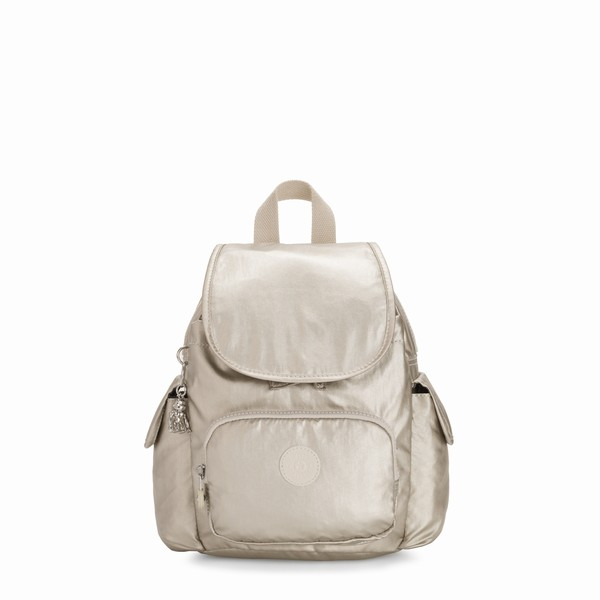 batoh mini zlatá Kipling CITY PACK MINI CLOUD METAL
